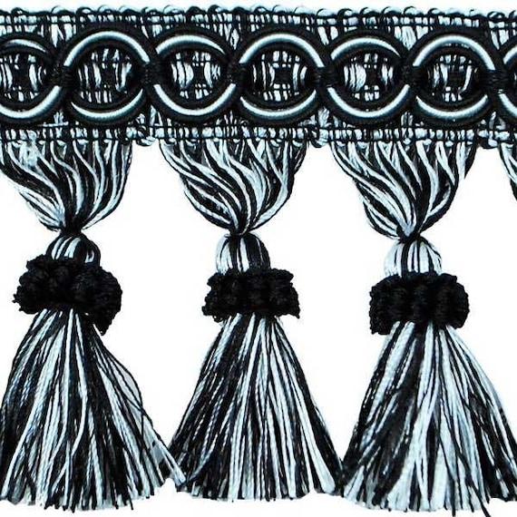 Tassel Trim Fringe, Black White, 4 Inch