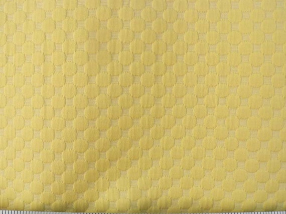 Matelasse Fabric By The Yard, Lemon Yellow, Geometric Circle, Jacquard Upholstery, Textured Solid,