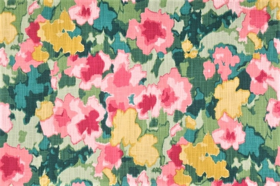 Cottage Floral Home Fabric By The Yard in Bright Pink Yellow Green White