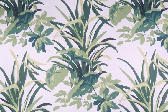 Decorative Curtain and Upholstery Fabric, Palm Leaf Design, Green and White, Tropical Botanical Style, Cotton Print