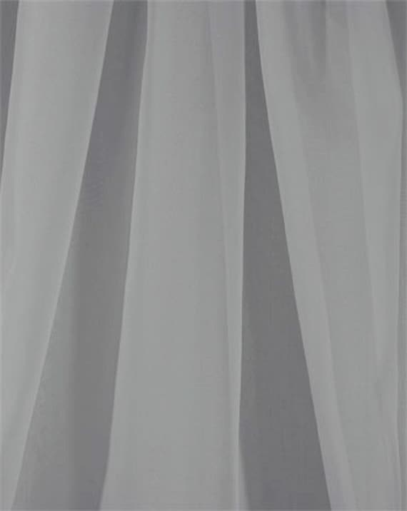Chiffon Voile Fabric, Sheer Silver Gray, 118 Inches Wide, By The Yard, Curtain Swag Scarve Wedding Material