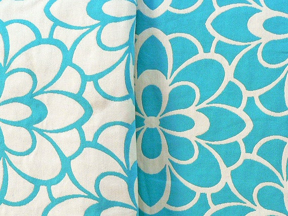 Jacquard Reversable Fabric in Turquoise or WheatGrass, Contemporary Retro Floral, Two Tone Damask, By The Yard, All Cotton