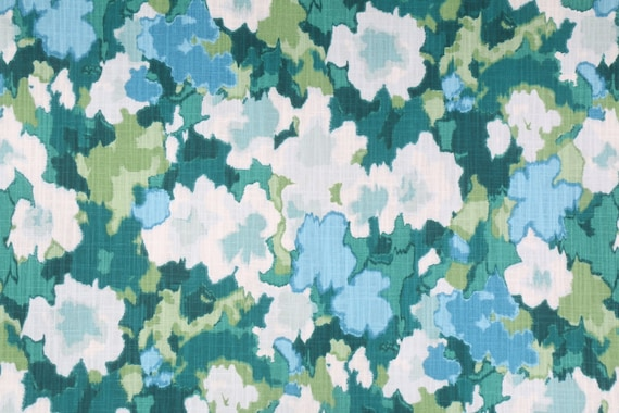 Watercolor Floral Fabric, Whimsical Cottage, Coastal Blue Green and White Pattern, Cotton Drapery Upholstery Material, By The Yard