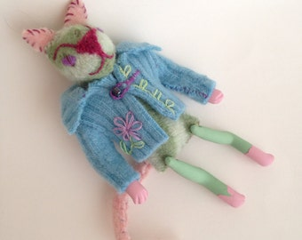 Scrap Cat- handmade kitty from recycled felted wool
