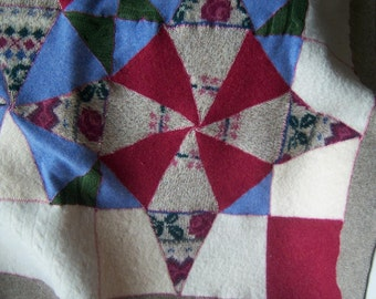 Recycled Wool Lap Baby Blanket/ Kaleidoscope pattern