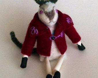 Scrap cat- tiny lapel pal or pocket buddy made from recycled wool