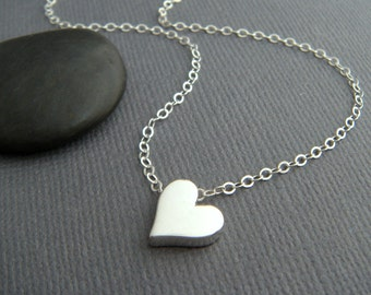 """small heart necklace. sterling silver bead tiny romantic dainty jewelry simple summer choker charm delicate everyday pendant. gift 3/8"""""""