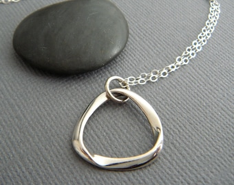 Modern Brushed Silver Pendant Artisan. Delicate Sterling Silver Necklace Sun Pendant Contemporary Simple Necklace