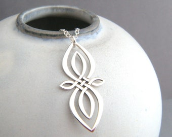 9057fbc1b sterling silver celtic knot infinity necklace double knots pendant small  statement pattern simple modern jewelry contemporary gift 1 1/4