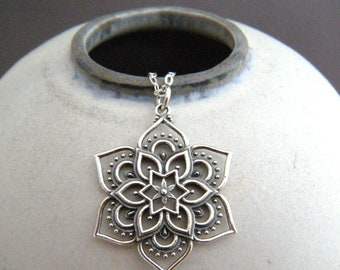 "sterling silver lotus mandala necklace openwork small petal flower pendant zen universe charm boho bohemian jewelry spiritual yoga 1"""
