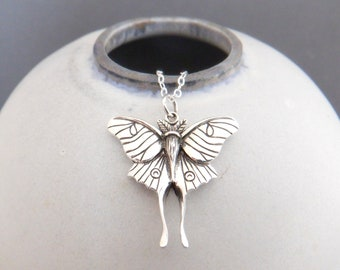 """sterling silver luna moth necklace petite insect charm dainty delicate decorative wings jewelry moon night creature nature enthusiast 1"""""""