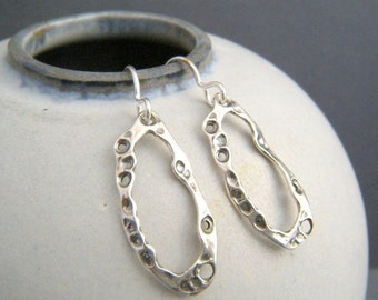 a078cd99d small silver organic hoop earrings. simple kelp beach jewelry. black  oxidized sterling silver. summer charms. ocean sea life. gift for her