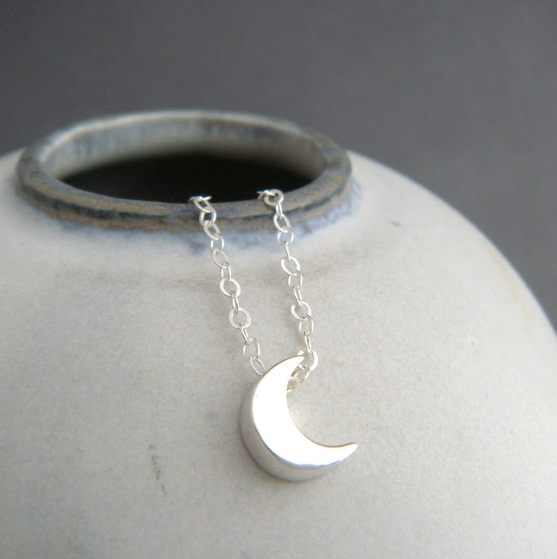 sterling silver bead small celestial dainty jewelry simple summer choker charm delicate everyday pendant 14 tiny crescent moon necklace