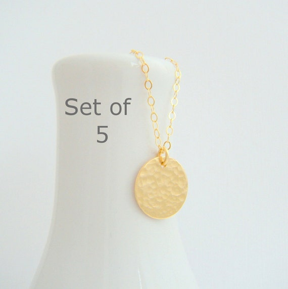 """bridesmaid necklaces. SET OF 5. small gold circle. hammered 14k gold filled. 14 k simple wedding jewelry. dainty delicate bridal gift. 1/2"""""""