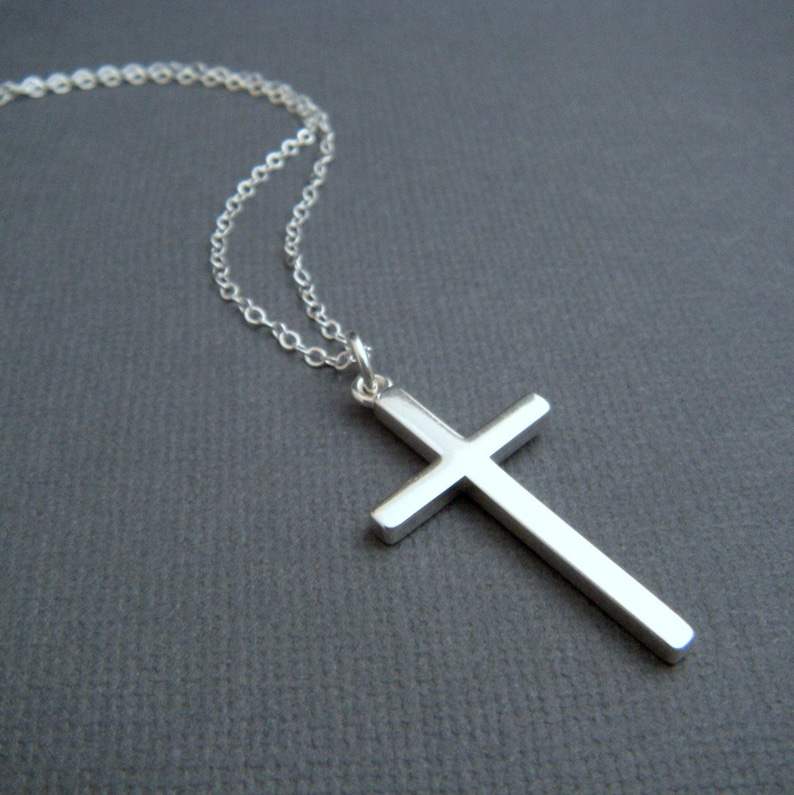 041f435cf9 Silver cross necklace. LARGE. sterling silver smooth modern   Etsy