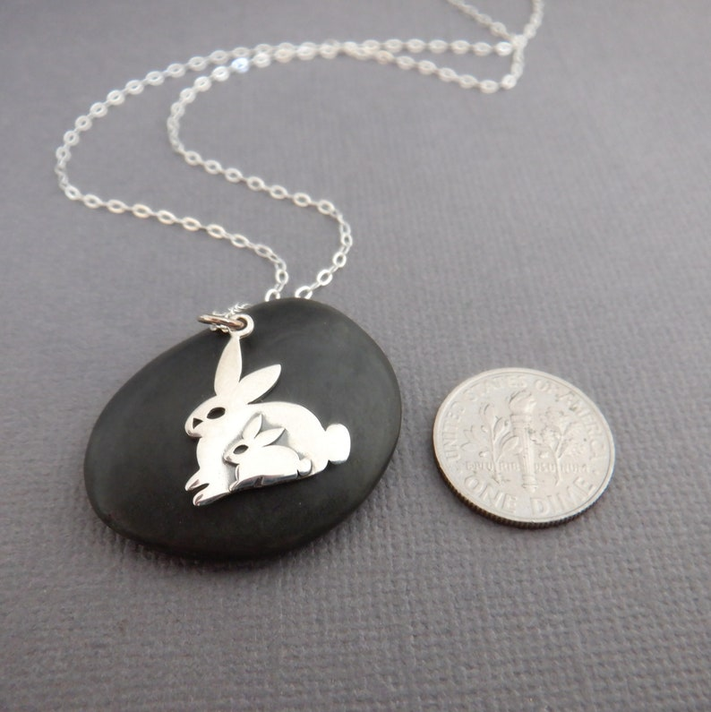 sterling silver two bunnies necklace small sterling rabbits mom and baby bunny pet pendant love charm gift animal lover simple jewelry 38
