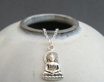 tiny silver Buddha necklace. small sterling silver zen charm. yoga jewelry yogi gift Buddhism faith Budha Buddhist religion everyday pendant