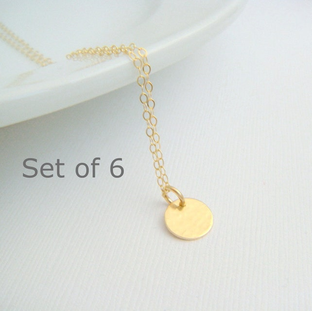 bridesmaid necklaces. SET OF 6: tiny gold circle. 14k gold filled hammered disc. modern wedding. bridal gifts. delicate. dainty. 3/8 inch