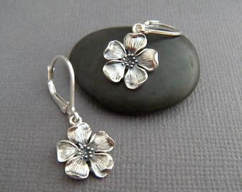 "sterling silver cherry blossom earring small flower dangle leverback rustic jewelry oxidized black boho bohemian gardener gift for her 1/2"""