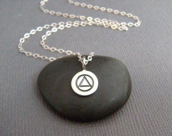 """tiny sterling silver alcoholics anonymous necklace small AA symbol charm twelve 12 step help recovery sobriety pendant dainty petite 1/4"""""""
