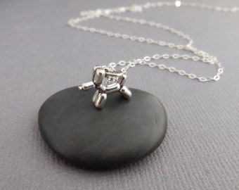 """tiny sterling silver balloon dog necklace small toy pendant pet charm delicate dainty fun animal love jewelry quirky unique party gift 3/8"""""""
