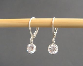 sterling silver cubic zirconia earrings leverback lever back small hook dangle diamond alternative crystal everyday drops simple 6 mm CZ