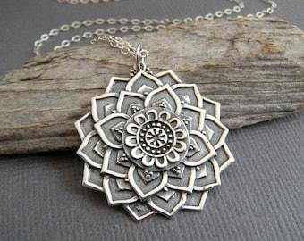 "sterling silver lotus mandala necklace small petal flower pendant zen universe charm boho bohemian jewelry spiritual yoga everyday 1 1/8"""