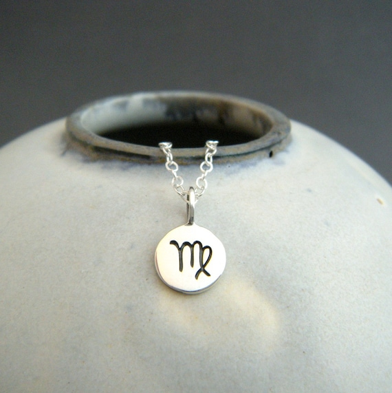tiny silver Virgo necklace  small sterling silver zodiac star sign  astrological astrology symbol pendant  simple everyday jewelry charm 3/8