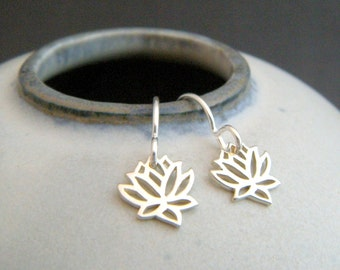 """tiny sterling silver lotus earrings. small flower dangle dainty petite drop leverback lever back simple zen yoga jewelry gift for her 3/8"""""""