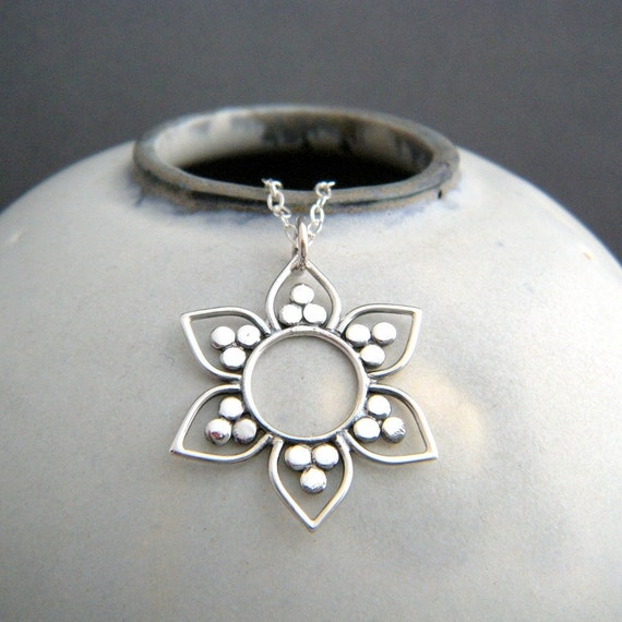 Sterling Silver Lotus Flower Necklace Yoga Sun Pendant Dot Etsy