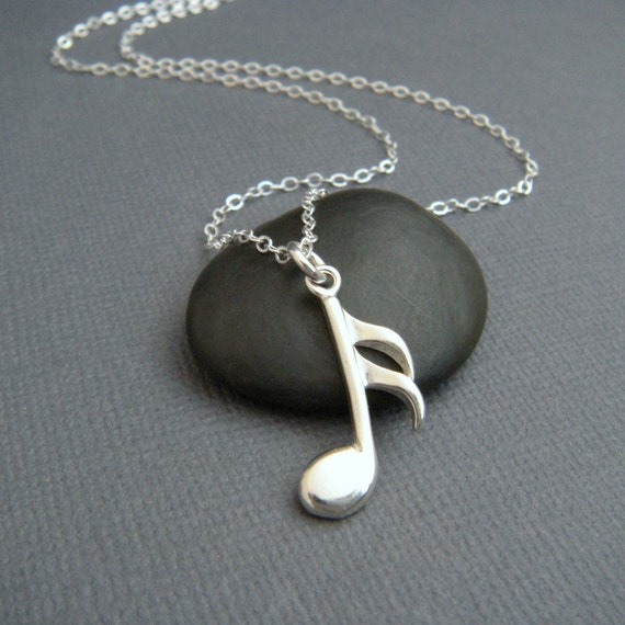 Silver Music Note Necklace Sterling Musical Pendant Symbol Etsy