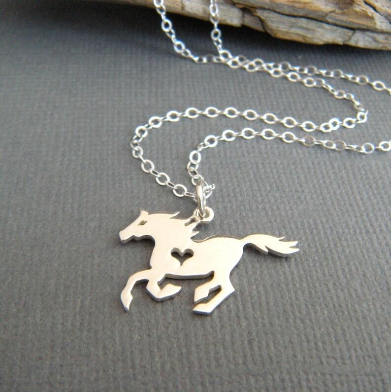 Galloping Horse Slide Pendant Sterling Silver