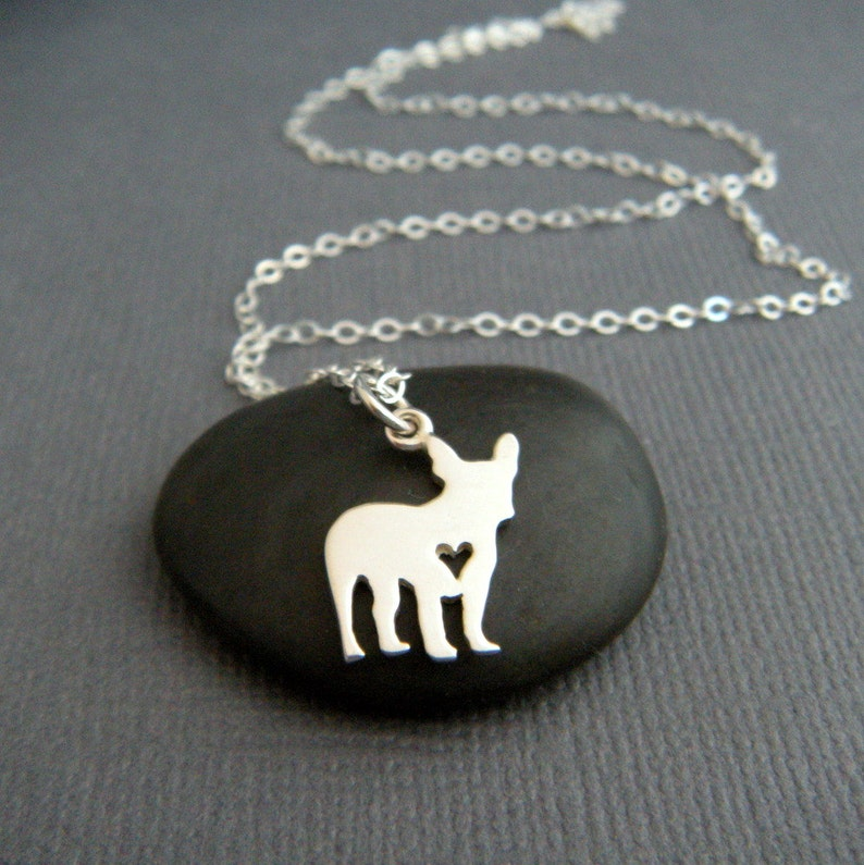 French Bulldog Necklace Antique Silver Animal Bull Dog Pendant Necklace New