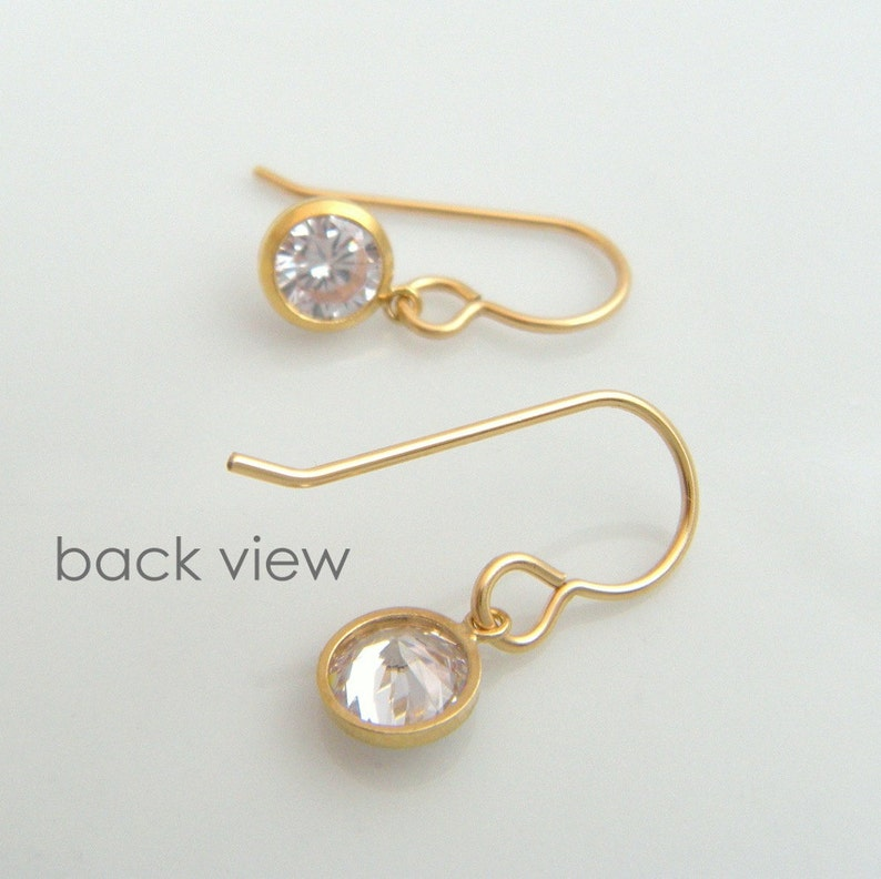 small gold CZ earrings tiny cubic zirconia diamond faux alternative 14k yellow gold filled clear crystals everyday hooks leverback 6 mm