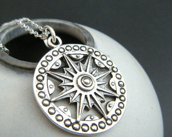 long boho sundial necklace rustic silver large compass sun sunburst jewelry sterling pendant bohemian oxidized patina traveler gift 1 1/8""