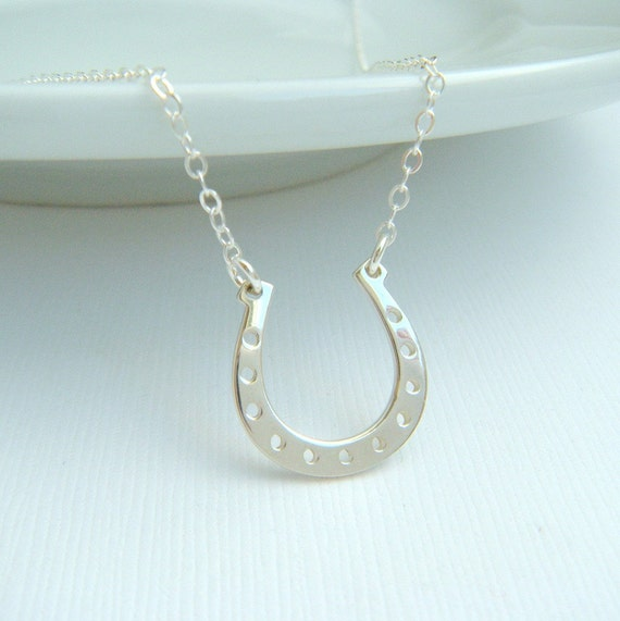 Good Luck Designer Jewelry 14k Gold Plated Silver Sparkling CZ Lucky Horseshoe Charm Necklace