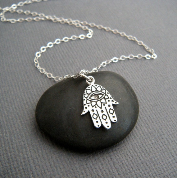 Small Hamsa Hand With Eye Necklace Etched Sterling Silver Etsy