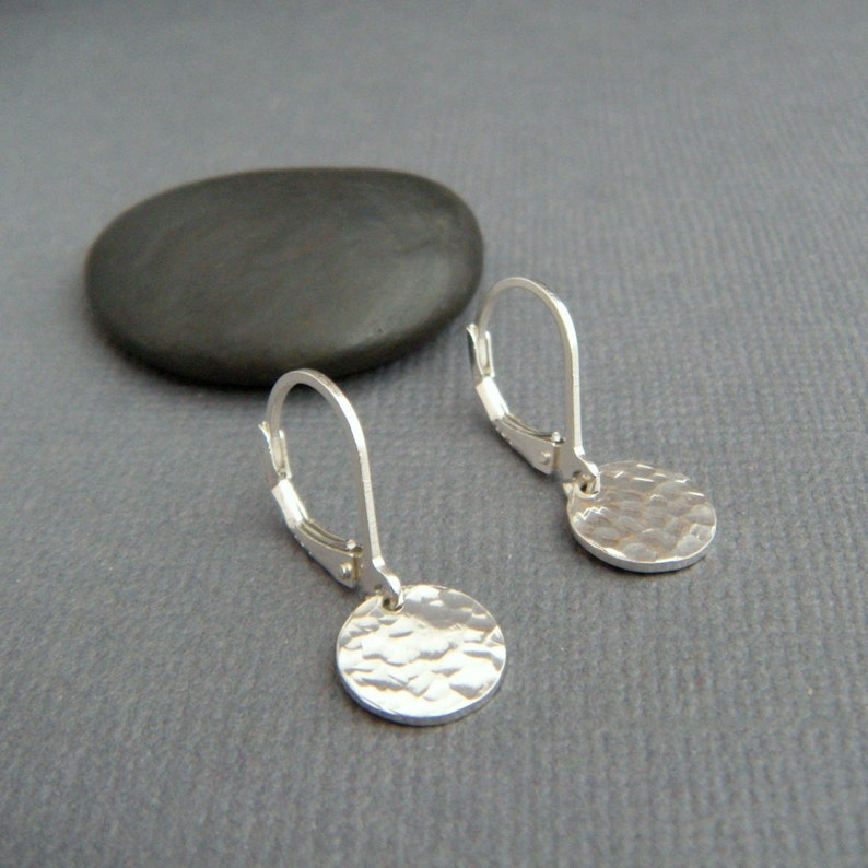 tiny sterling silver dangles hammered circle earrings petite image 0