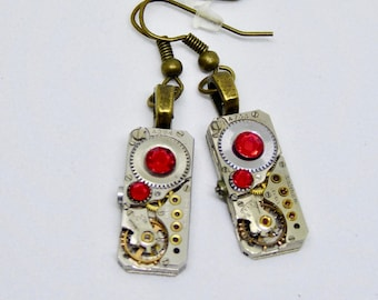 Earrings - Steampunk ear gear - Ruby - Waltham - Steampunk Earrings - Repurposed