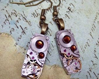 Steampunk Earrings - Watch movement jewelry -Repurposed art