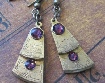 Steampunk - Pocket watch parts - Archaic - Amethyst - Steampunk Earrings - Repurposed art