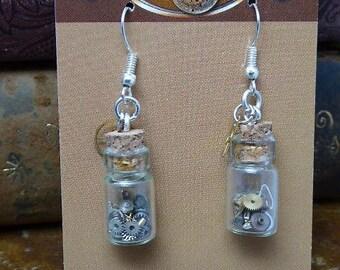 Steampunk ear gear - Time in a bottle - Steampunk Earrings - Repurposed art