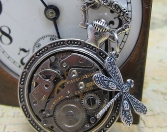 STeampunk pocket watch necklace - Dragonfly - Steampunk Necklace - Repurposed Art