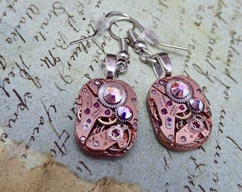 Steampunk ear gear - watch movement - Rose Gold - Steampunk Earrings - Repurposed art