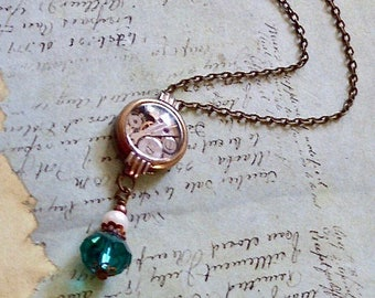 Steampunk necklace  - Emerald - Steampunk watch parts - Repurposed Art