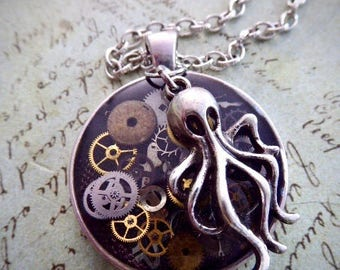 Steampunk Watch movement pendant - Octopus Garden - Steampunk Necklace - Repurposed art
