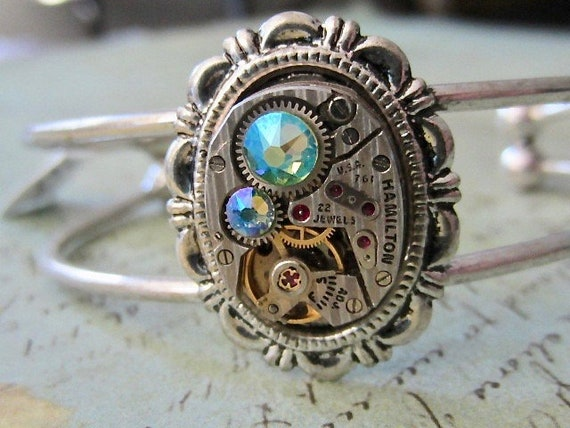Recycled Steampunk Bracelet Cuff Leather Cuff Repurposed art -Upcycled