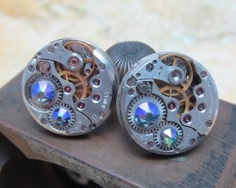 Steampunk Stud Earrings with Mechanical Watch Movement, Steampunk Earrings , Steampunk jewelry