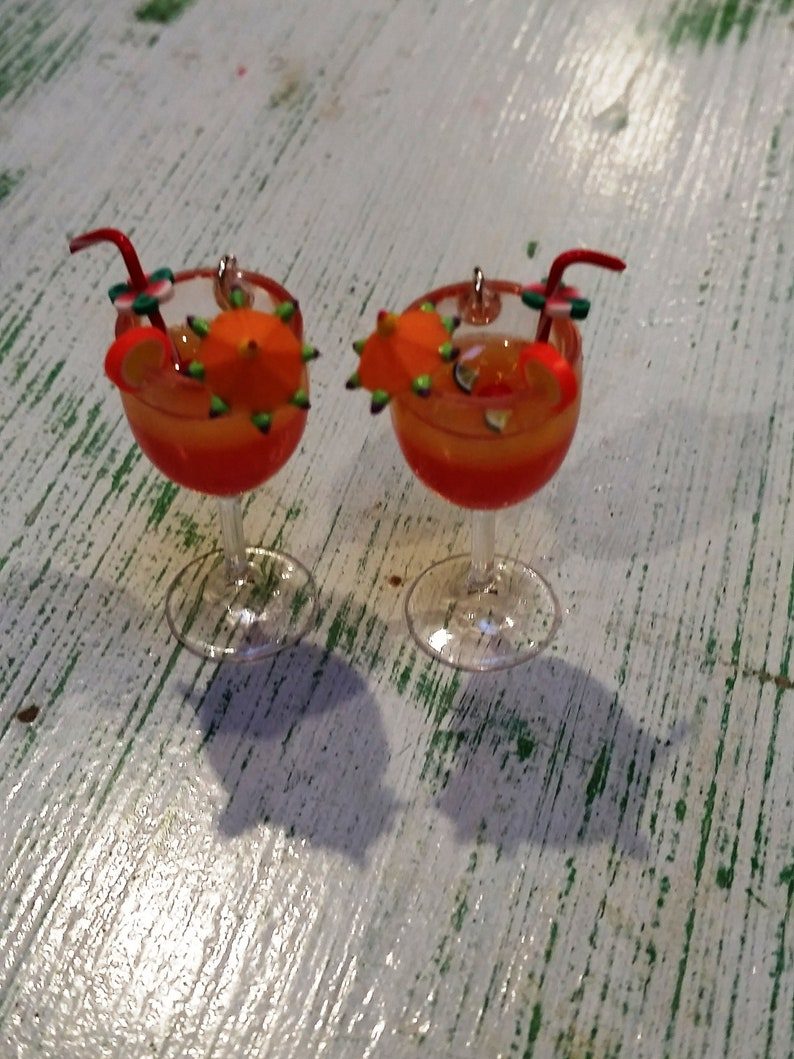1-38 Tropical Hurricane Tequila Sunrise Earrings with Tiny Cocktail Umbrella Orchid Flower and Marachino Cherry Garnish
