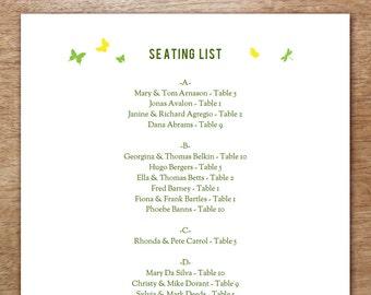 printable seating list wedding seating list template etsy